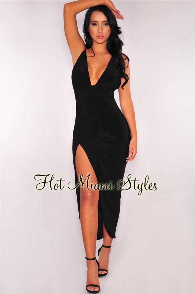 d90ca5b603 Black Ruched Slit Halter Dress in 2019