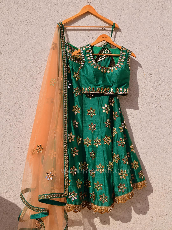 8652aff6660d09 Bottle Green Mirror Work Lehenga Choli by Designer Anisha Shetty ...