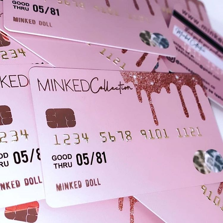 "Business Cards | SHAYNA DENHAM on Instagram: ""Business Cards styled after a real credit card!! Designed and printed for Minked Collection.💰💳 We can make them nearly any color + have…"""
