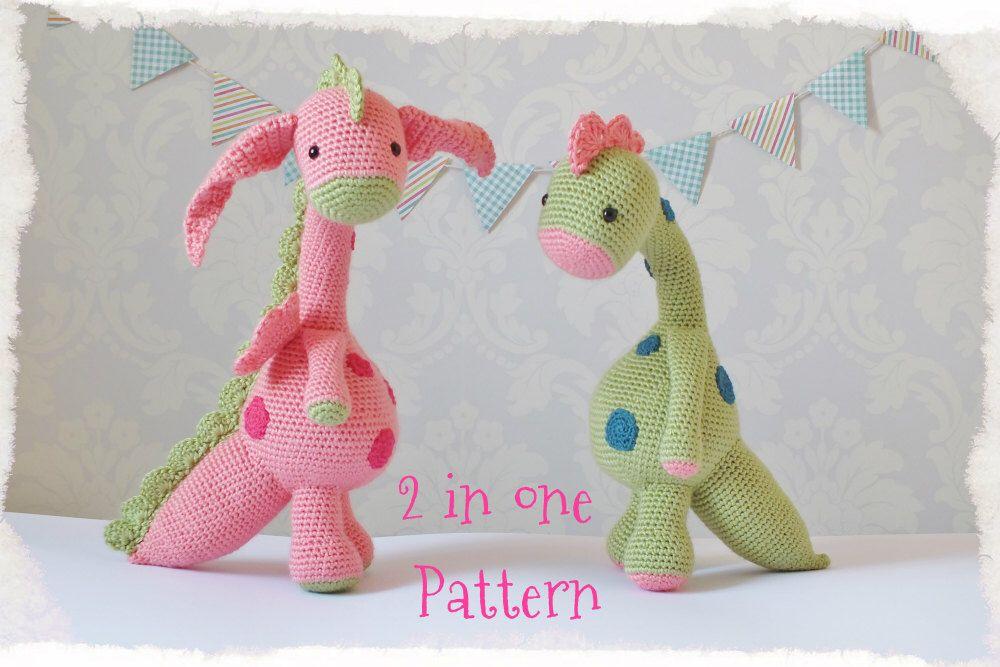 Crochet Dragon and Dinosaur Amigurumi PATTERN ONLY PDF Instant ...