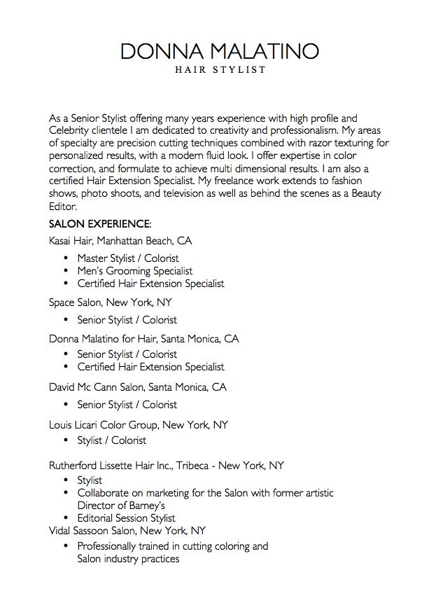 Resume For Hair Stylist Free Resume Sample