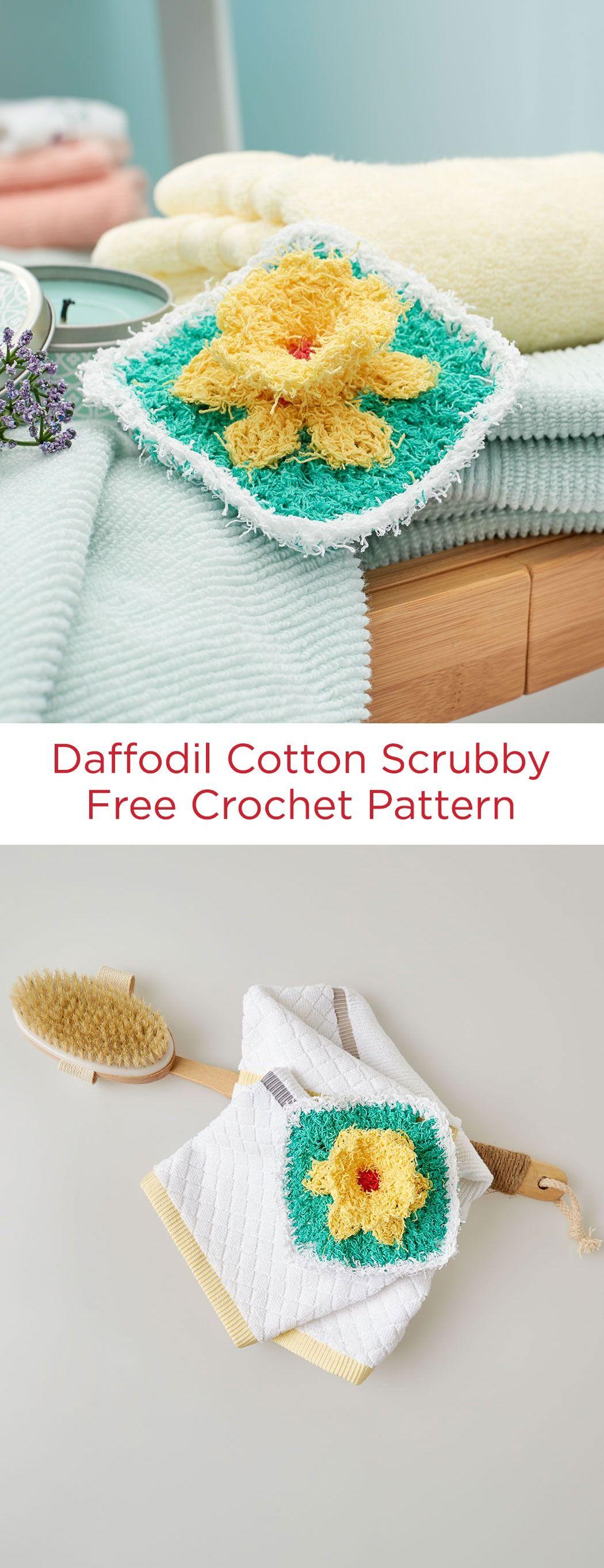 daffodil cotton scrubby free crochet pattern in red heart scrubby