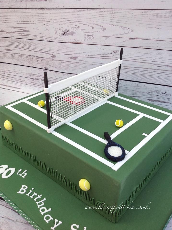 A Tennis Court Themed Cake Www Thecraftykitchen Co Uk Tenniscake Tennis Cake Tennis Birthday Sports Themed Cakes