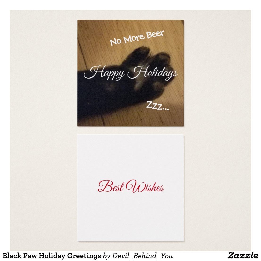 Black Paw Holiday Greetings Square Business Card | DBY miscellaneous ...
