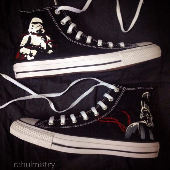 88294405fff324 Starwars Storm Trooper Darth Vader Hand Painted Converse Shoes ...