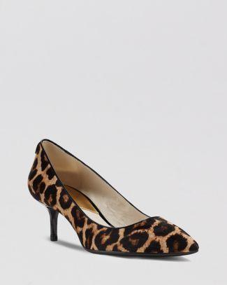 MK Flex Leopard Print Kitten Heel Shoes