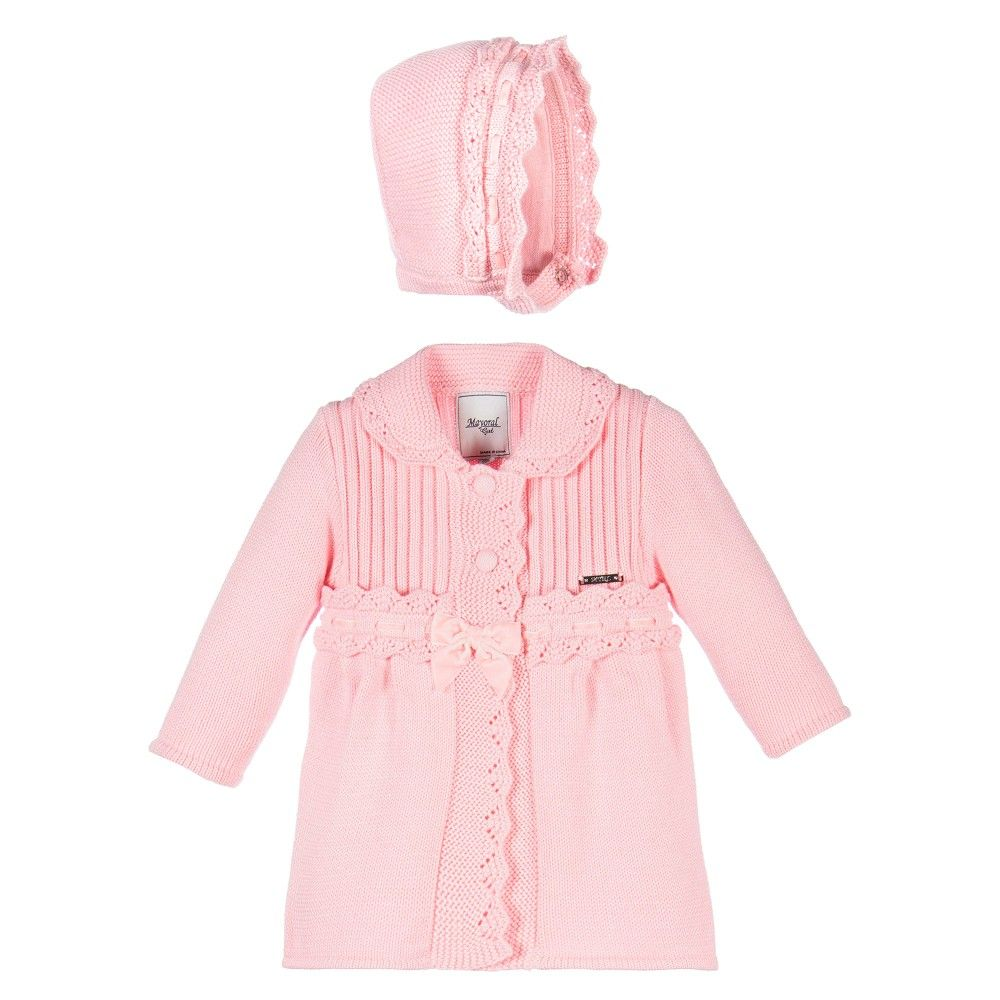 ddb9114b6 Mayoral Baby Girls Pink 2 Piece Cotton Knitted Coat   Bonnet Set at ...