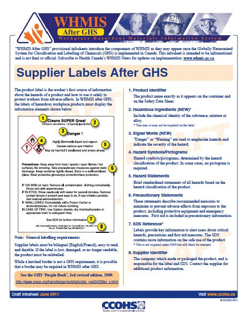 Whmis After Ghs Supplier Labels After Ghs Fact Sheet Workplace