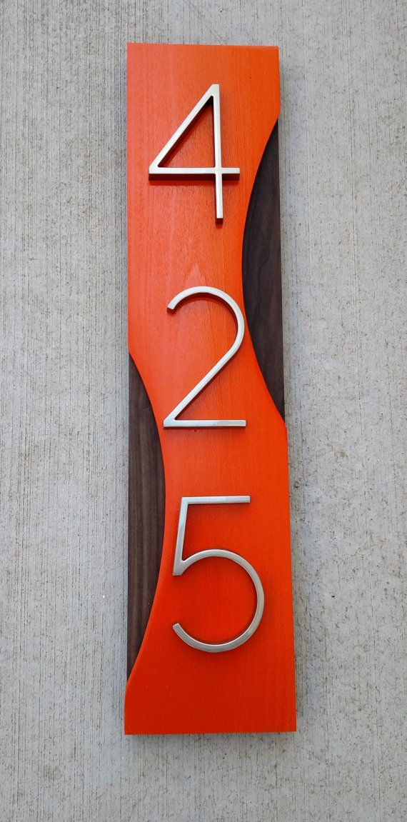 455085f5c06e Mid Century Modern Address Plaque House Numbers Address | 434 ...