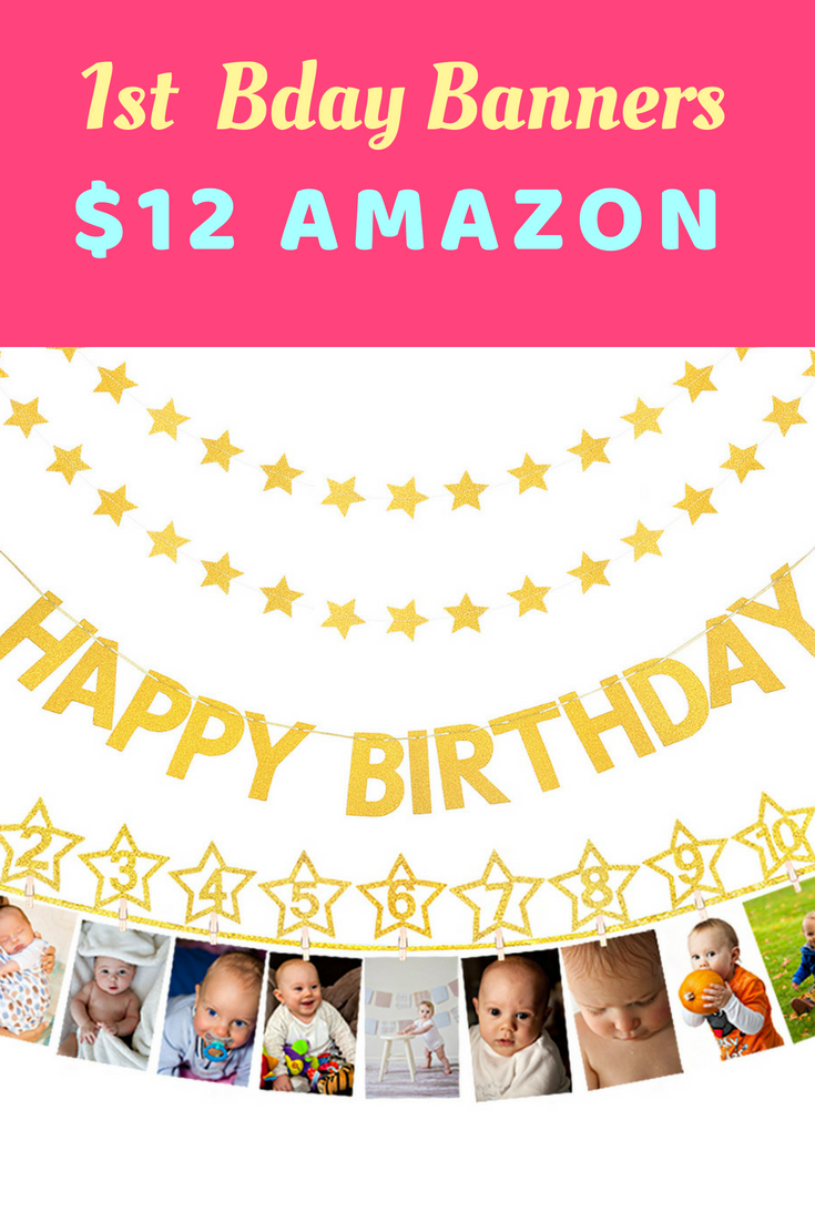 ECOHIP 1st First Birthday Party Decoration Kit 12 Month Milestone Photo Banner Gold Star Garlands Happy Garland For Baby Girl And Boy