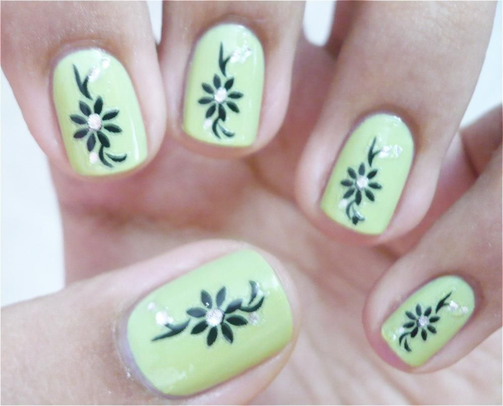 Catchy Green Nail Art Design Idea With Black Floral Motif And Silver  Rhinestone Ornaments For Short Nails   Short Nail Art Green Nail Art Part 4