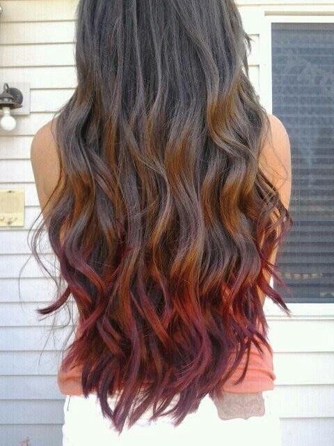 Red dip dye | summer loving | Dipped hair, Red ombre hair ...  Red dip dye | s...