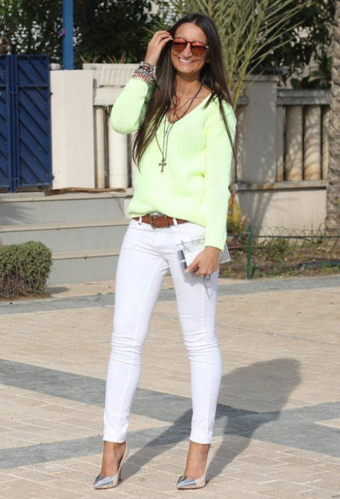 Como Llevar Mi Pantalón Blanco Pantalón Blanco Mujer Ropa Atuendos De Moda Para Mujer