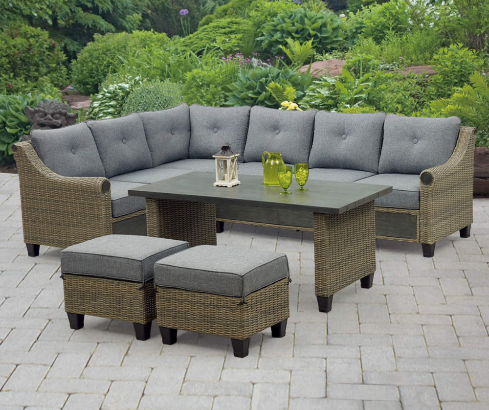 Broyhill Patio 5 Piece Cushioned Sectional All Weather Wicker Set Big Lots In 2020 Patio Seating Sets Sectional Patio Furniture Patio Sectional Diy