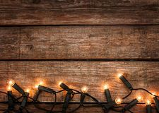 Christmas Rustic Background Vintage Wood With Lights
