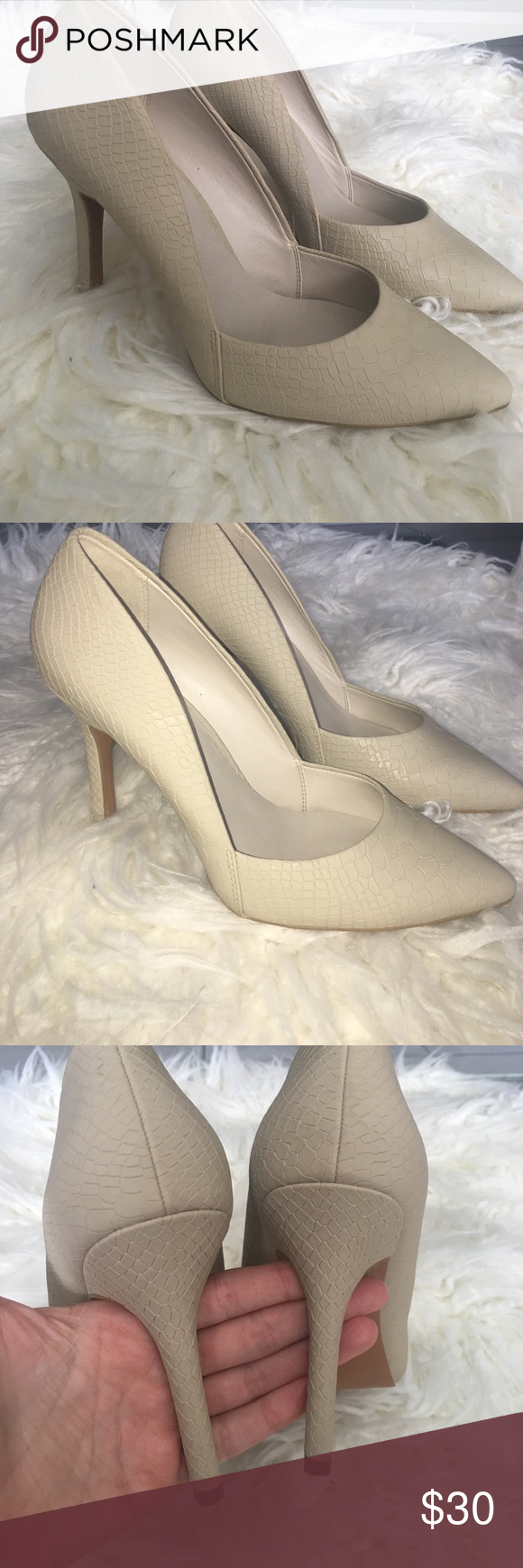 Aldo Sand Cream Snake Print Stiletto Pumps Heel Excellent Condition with no flaws. Like new Aldo Shoes Heels