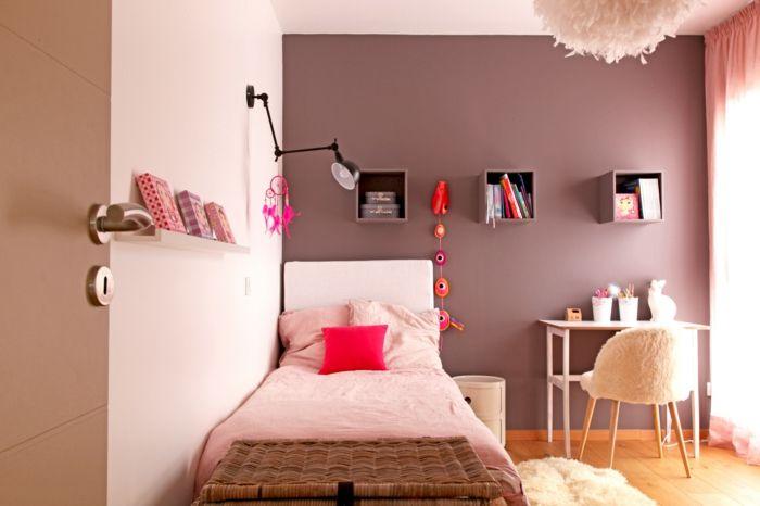 couleur taupe, rose et orange pour la chambre enfant Maison