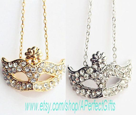 Bohemia style Mask necklace Artificial diamond necklace Short clavicle necklace Womens jewelry Party Bridesmaid Wedding Daily jewelry by APerfectGifts, $2.99