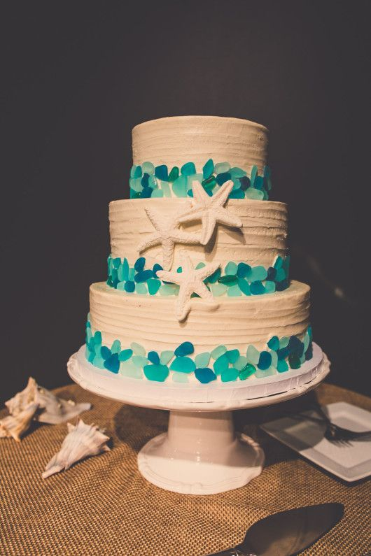 Starfish Wedding Cake With Blue Sea Glass Accents