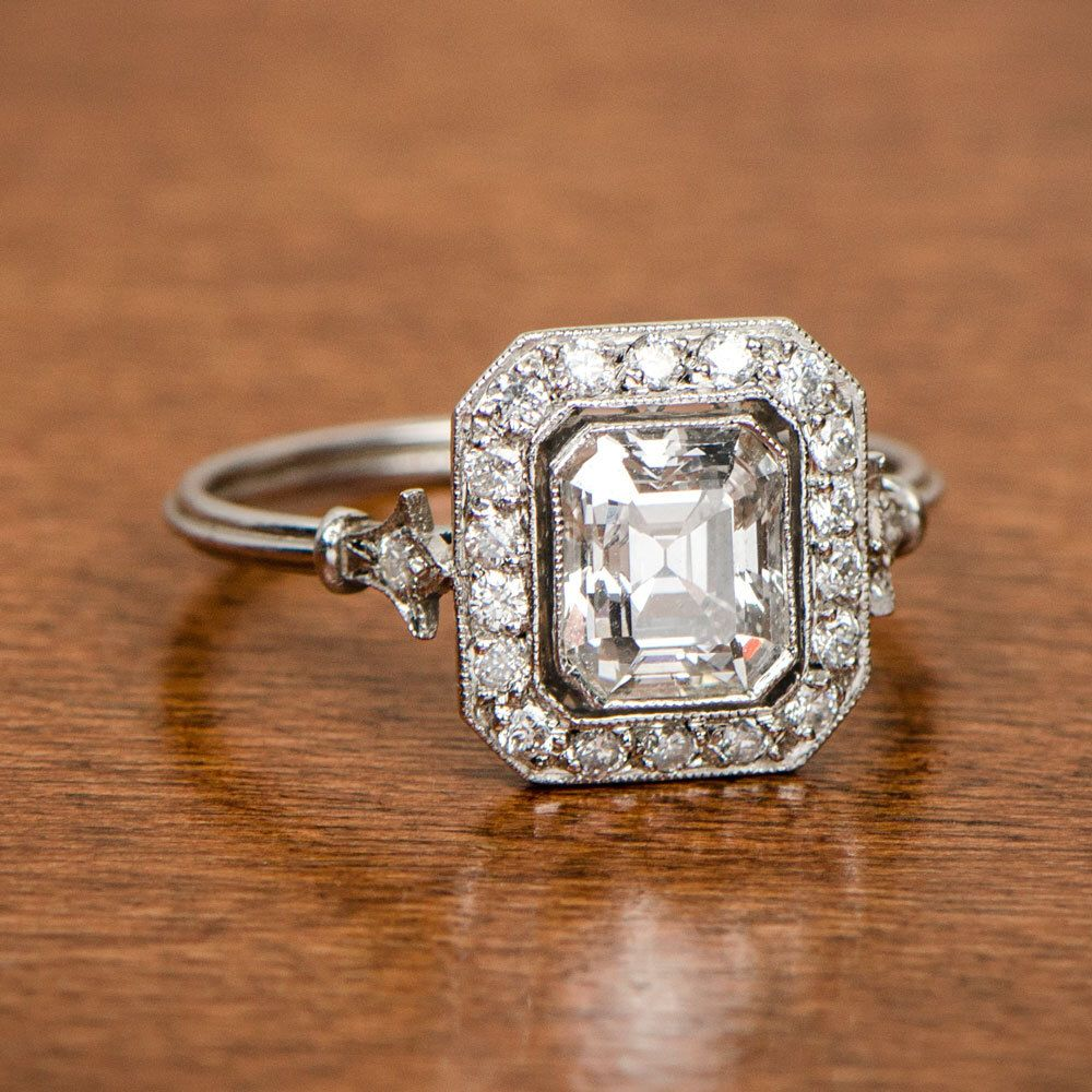 Vintage Engagement Ring Emerald Cut Diamond 1 10ct Antique By Estatediamondjewelry