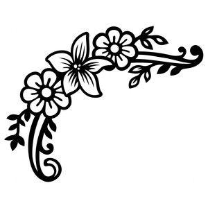 Download Lily flourish corner | Flower silhouette, Leaves sketch ...