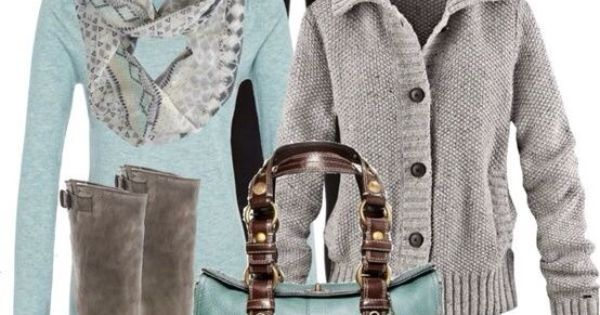 Turquoise plus grey with saddle boots. Fashionable fall outfit   Ongles   Pinterest   Turquoise, Bags and Love this