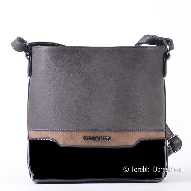 f0310507ef555 Trójkolorowa szaro - czarno - beżowa torebka damska na ramię do  przewieszenia (raportówka -
