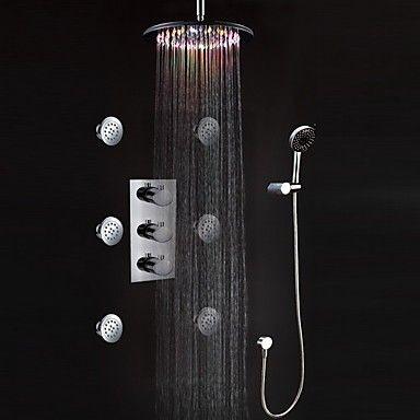 Hervorragend Duscharmatur LED Wandhalterung Thermostat mit Seitenbrausen  AR18
