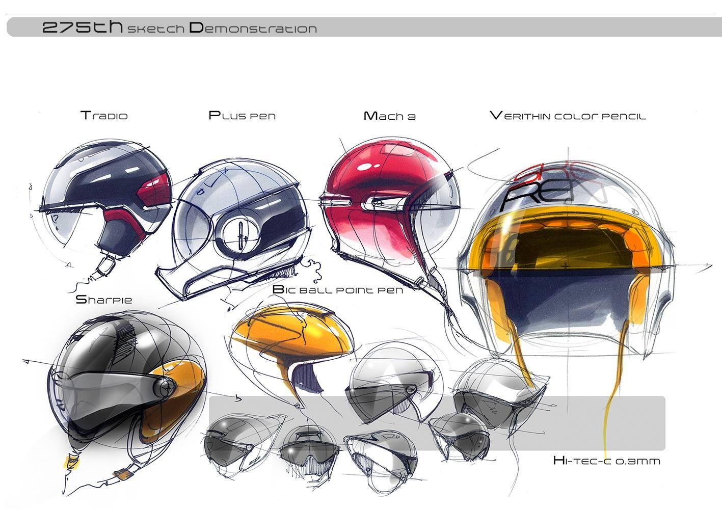 Helmet industrial design sketches