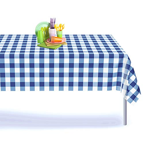 Amazon Com Blue Gingham Checkered 6 Pack Premium Disposable Plastic Picnic Tablecloth 54 Inch X 108 Inch Re Table Cloth Picnic Tablecloth Round Table Covers