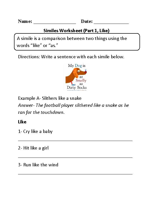 Similes Worksheet Part 1 Like Beginner Printables Pinterest