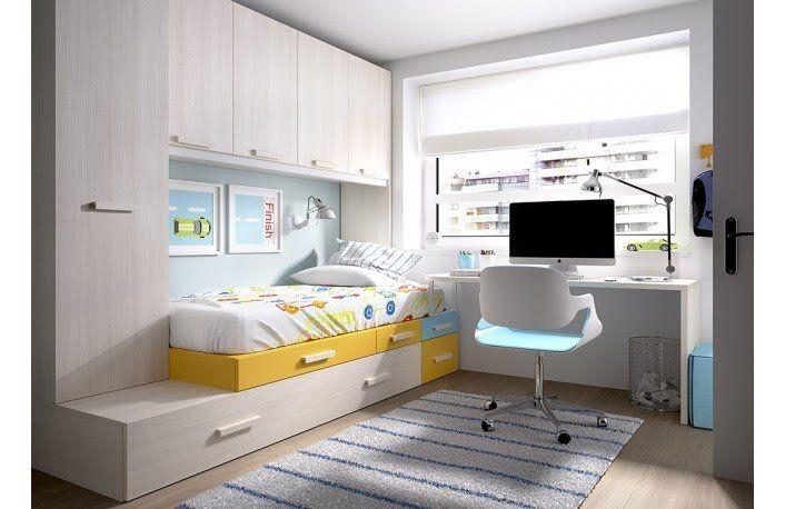 Dormitorio puente con escritorio para habitaci n juvenil for Habitaciones juveniles funcionales