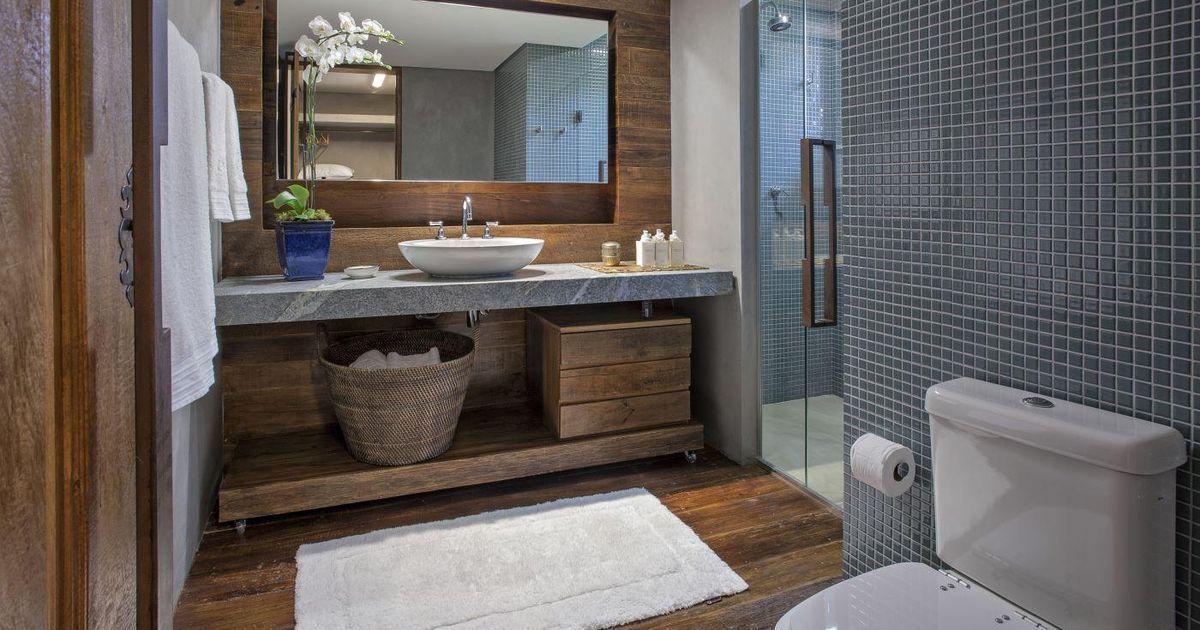 Banheiro com estilo rústico moderno de Banheiro de Gislene Lopes - Viva Decora