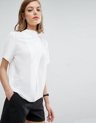 6957ec9a2 ASOS High Neck Tee with Drape Detail Fashion Websites, Fashion Online,  Design T Shirt