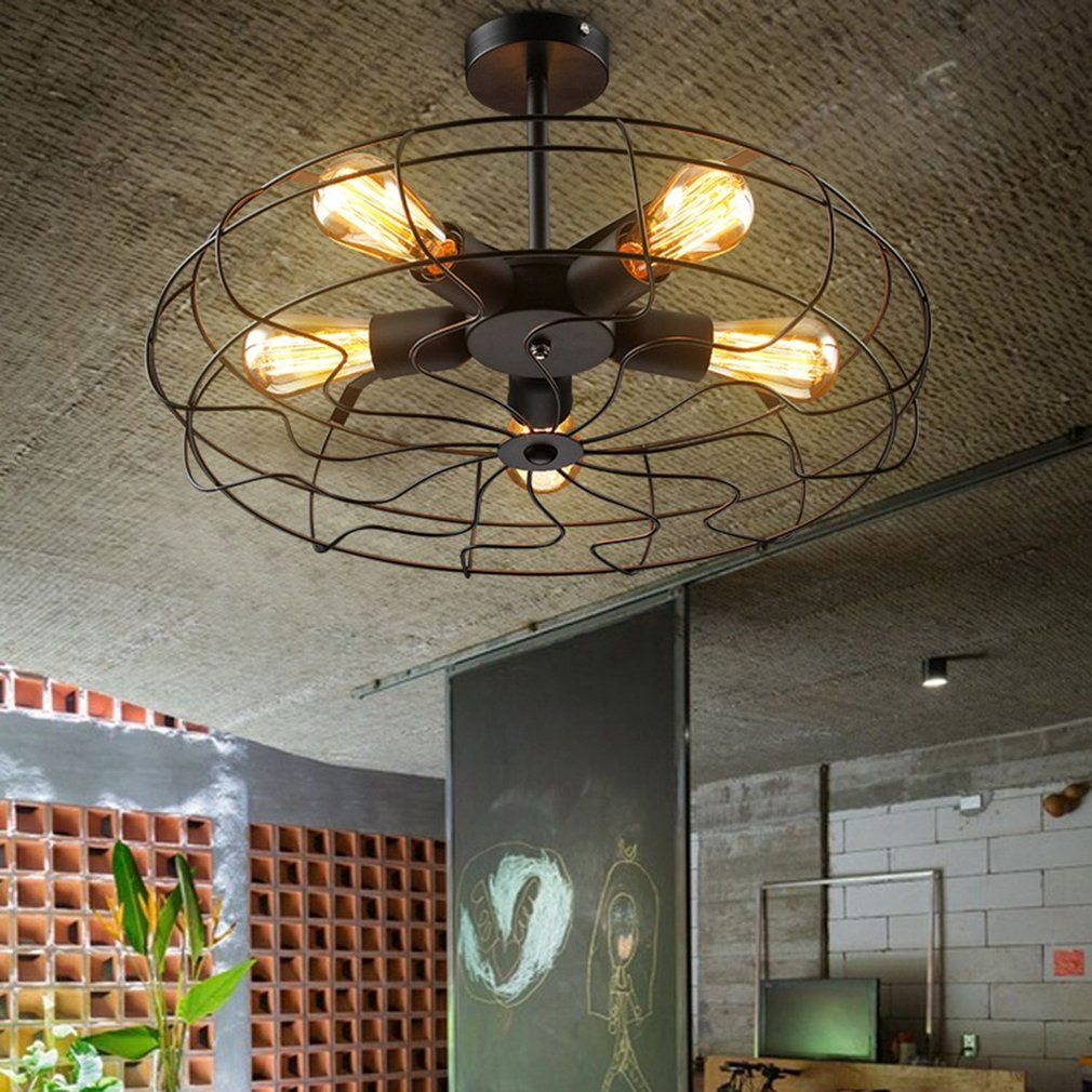 Admirable Industrial Vintage Metal Fan Shape Hanging Ceiling Light Interior Design Ideas Philsoteloinfo