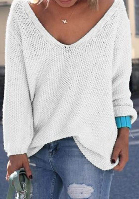 White Plain V-neck Long Sleeve Loose Fashion Pullover Sweater ... 0c95a45be