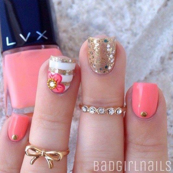 decoracion de uñas coral con accesorios | uñas | Pinterest ...