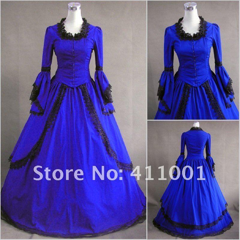 2017 Gothic Wedding Dresses Halloween Victorian Bridal: 2017 Fall Winter New Vintage Royal Blue Long Sleeves Long