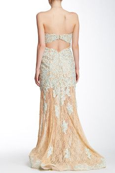 TERANI COUTURE Lace Strapless Gown