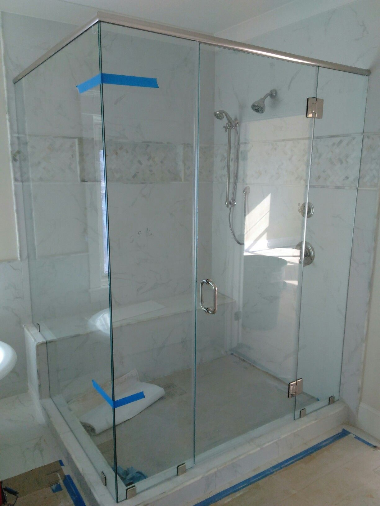"Swink Residence. Palmetto Shores @ Lake Murray.  Master bath 3/8"" monolithic-glass shower enclosure with header."