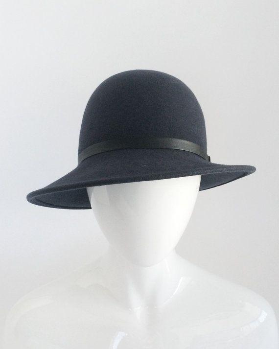 ce6e7e51bf4 Annie Hall Inspired Grey Felt Hat - Women s Fall Felt Hat Wide Brim Hat by  Una Hats