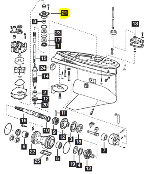 New Aftermarket Johnson/Evinrude 150-250 HP V6 Bearing