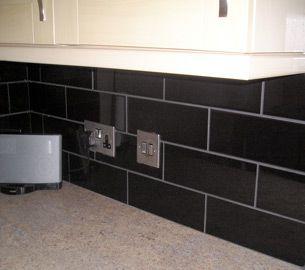 Liso Brillo Black Kitchen Wall Tile