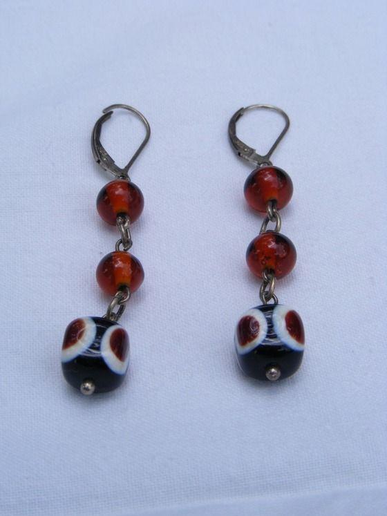 Artisan Hand-Blown Glass Bead Dangle Earrings Sterling Silver Ear Wires $14.00