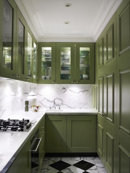 Narrow Kitchen Love The Marble Backsplash And Counters This Pea Green Shade On Cabinets