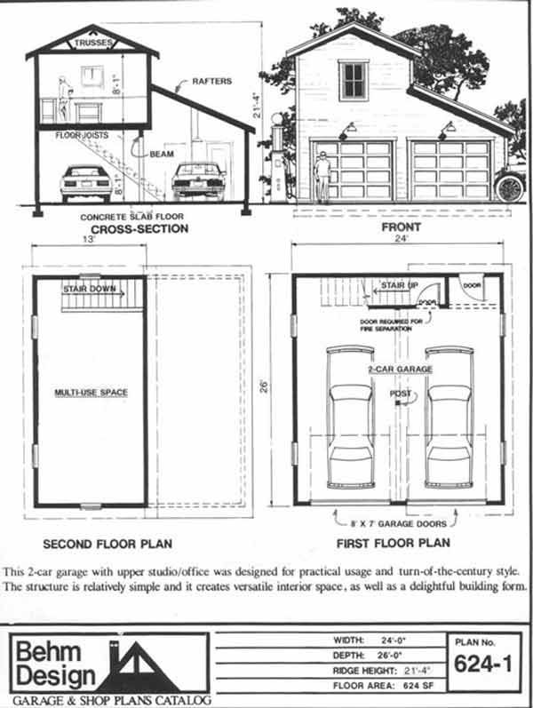 2 car craftsman style garage plan with loft 624 1 24 39 x for Engineered garage plans