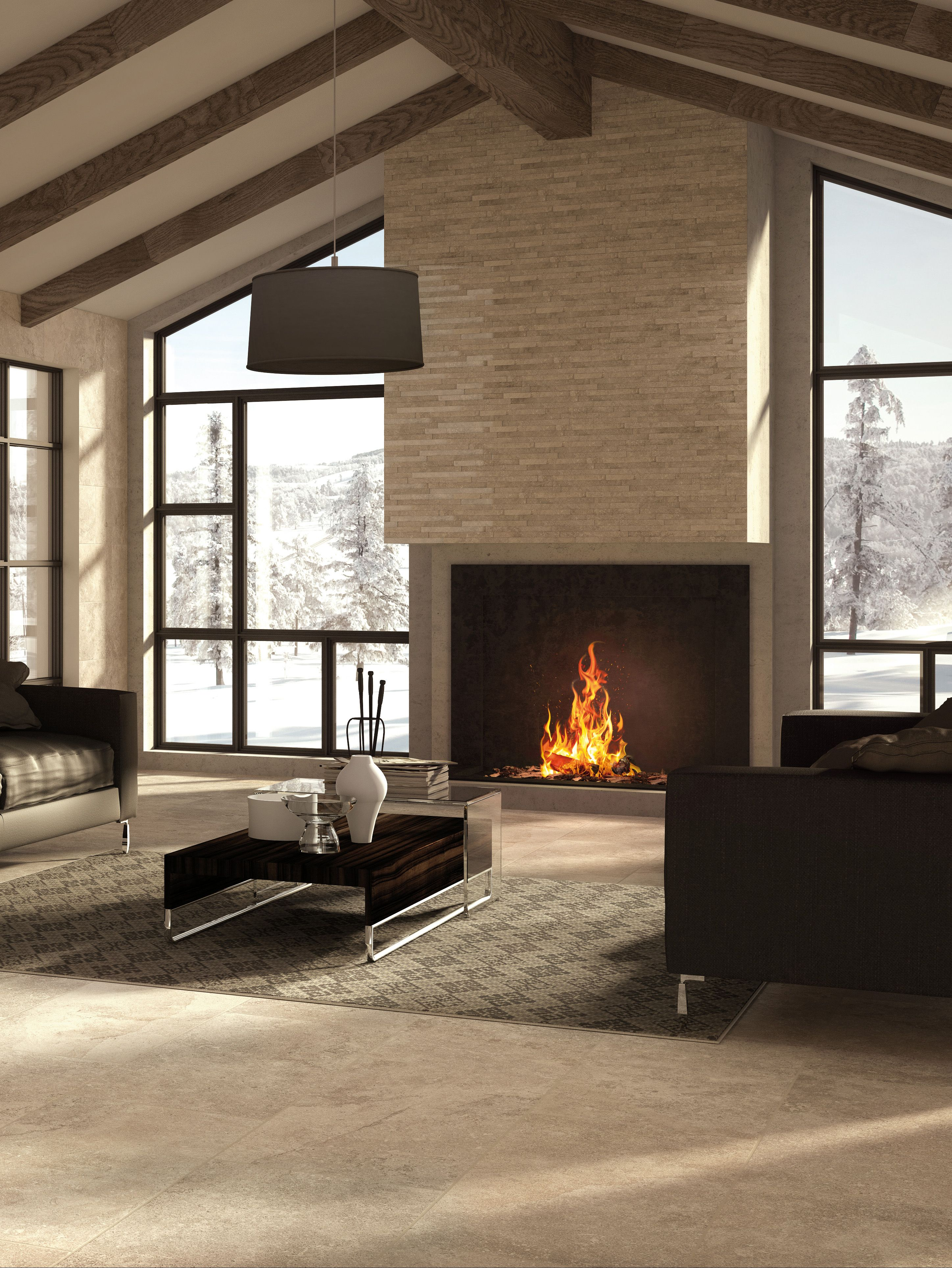 Split Face Tile Fireplace Part - 39: Universe Collection #stone Effect #tile #fireplace #winter #living  #architecture #