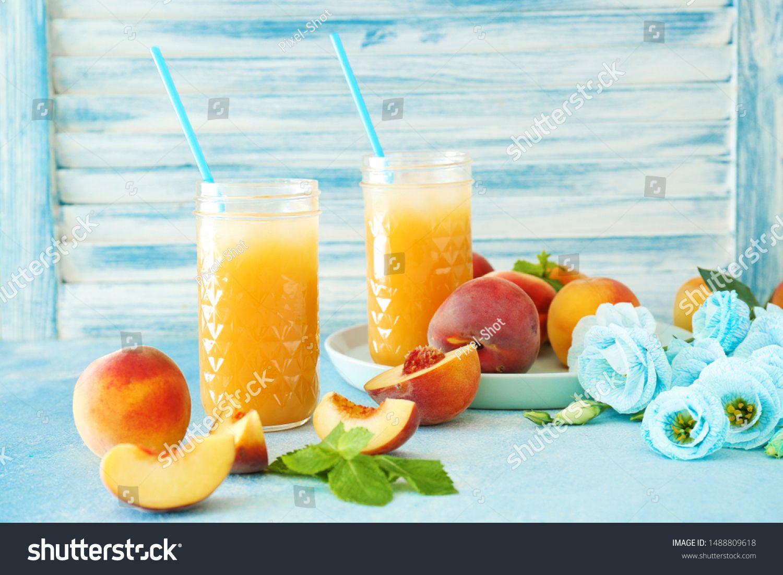 Jars of tasty peach juice on table #Sponsored , #Affiliate, #tasty#Jars#peach#table
