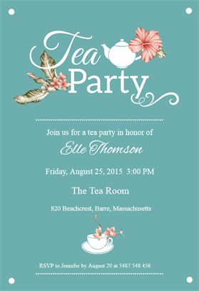 Bridal Shower Tea Party Printable Invitation Customize Add Text
