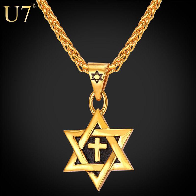 U7 heißer magen davidstern kreuz anhänger & halskette gold farbe edelstahl frauen/männer kette israel jüdische schmuck p819